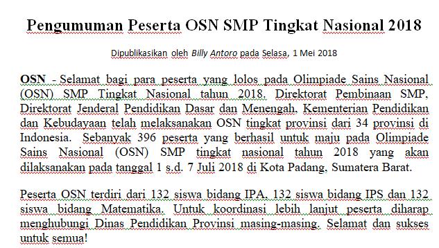 Untitled PENGUMUMAN OSN SMP 2018